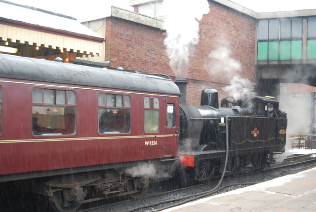 Steam engine shunting Carriages in the snow, Bury Bolton Street Station