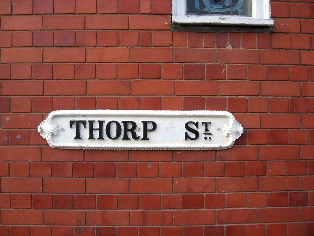 Thorp Street (road name sign)