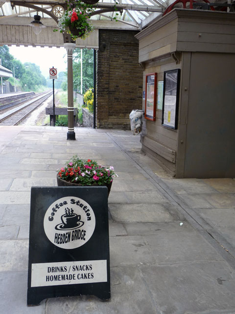 Coffee station sign and disused lift - Hebden Bridge station