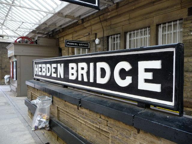 Hebden Bridge station sign