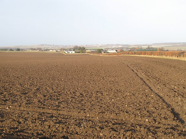 Ploughed fields and Newmains Smallholdings