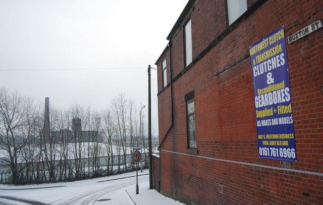Wellington Mill seen down Buxton St