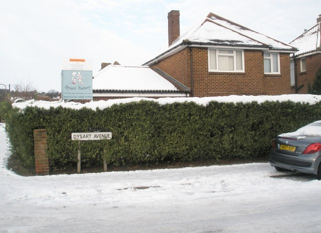 A snowy Dysart Nursery in East Cosham