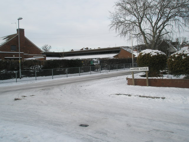 Looking from a snowy Mansvid Avenue towards Court Lane Infant School