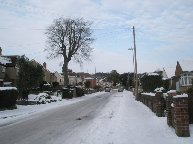 Looking northwards up a snowy Court Lane