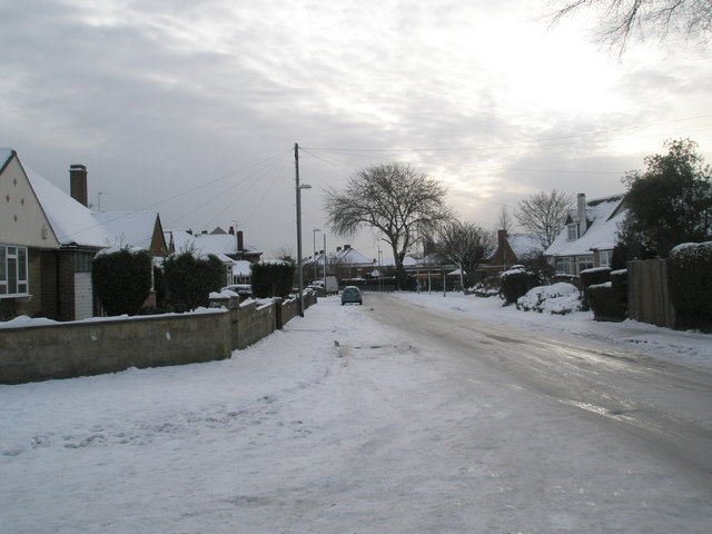 Looking from Court Mead down a snowy Court Lane