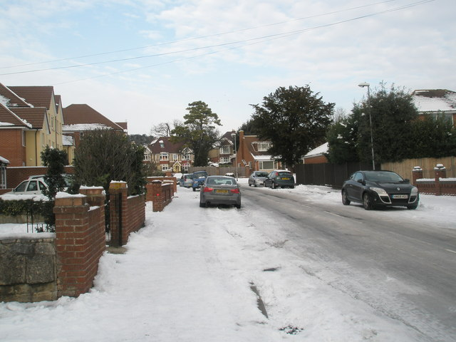 Top end of a snowy Court Lane