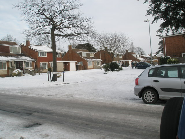 Looking from Court Lane into a snowy East Court