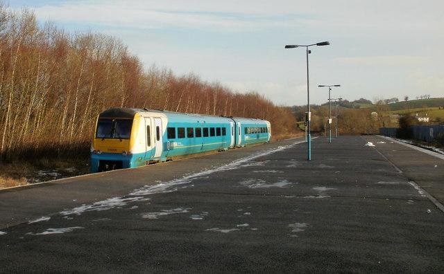 Arriva train departs from Pontypool & New Inn station