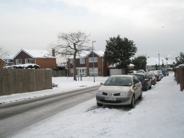 A snowy pavement in Court Lane