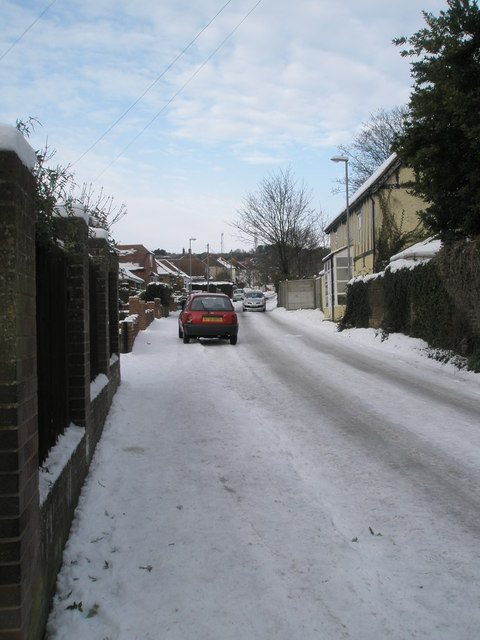 A snowy pavement in East Cosham Road