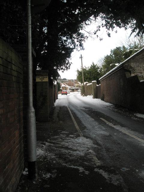 Treacherous conditions at the bottom of East Coasham Road