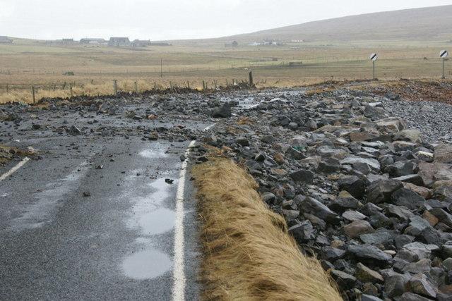 Debris on the road at Haroldswick