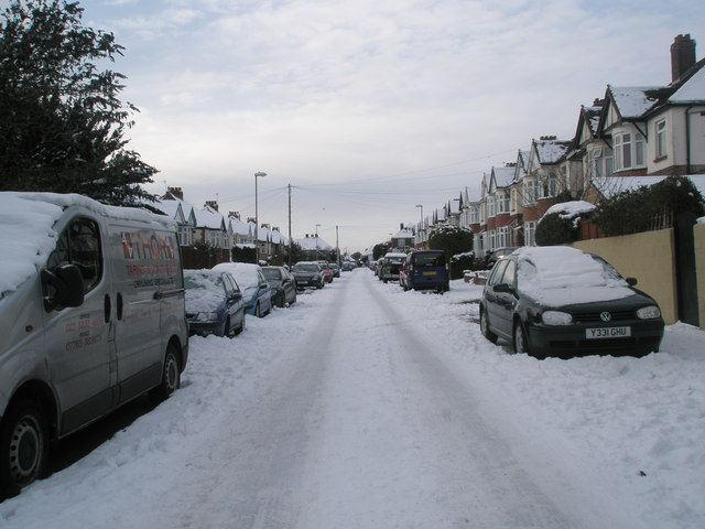 Looking from East Cosham Road into a snowy Southdown Road