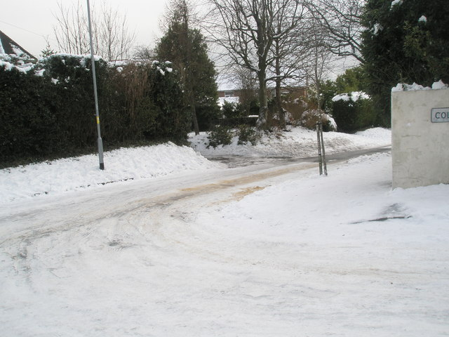 Junction of a snowy Colville and East Cosham Roads