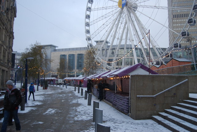 Manchester's Christmas Market setting up, Exchange Square