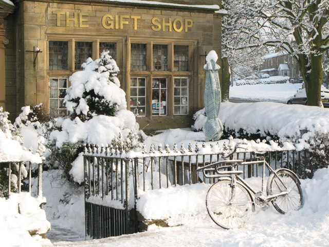 Bicycle as snow sculpture in front of the Gift Shop