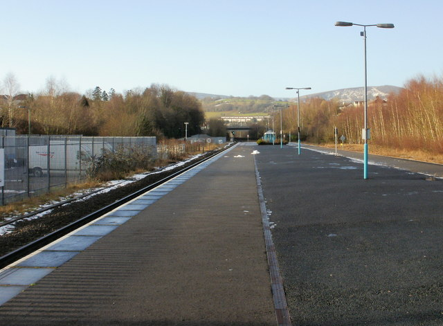 The view along the platforms, Pontypool & New Inn station