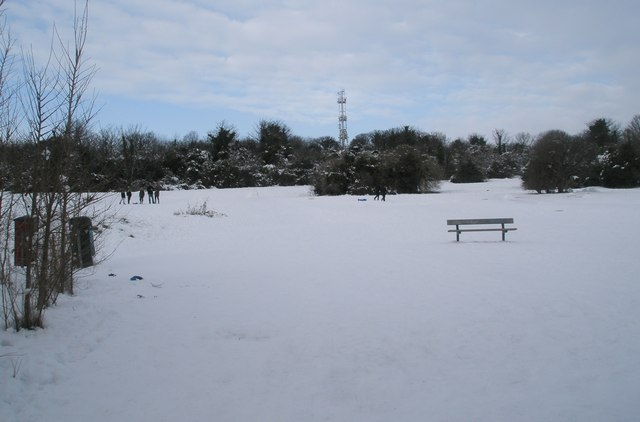 Seat on a snowy Portsdown Hill