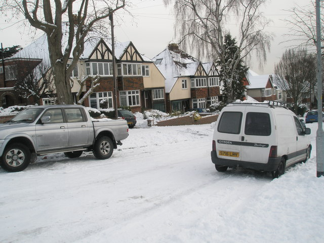 Snow covered homes in Carmarthen Avenue