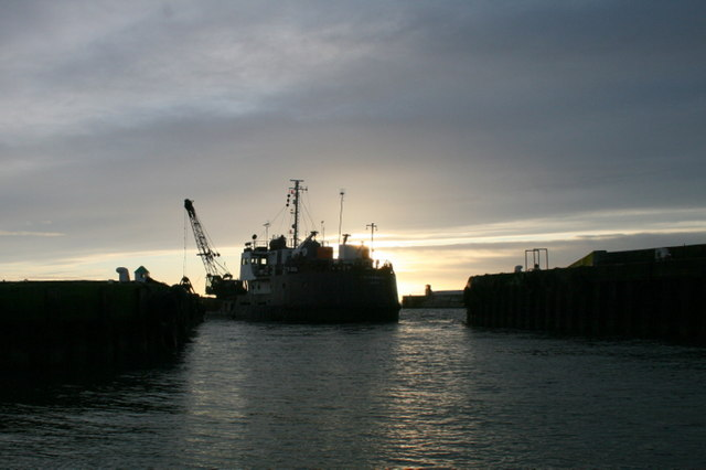 The MV Shearwater almost blocks the Burghead harbour
