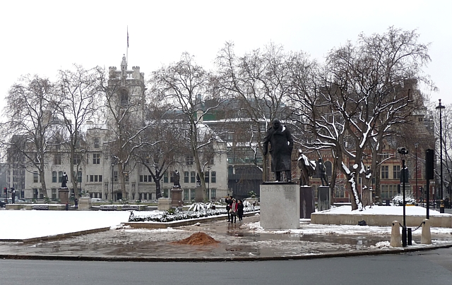Snow in Parliament Square