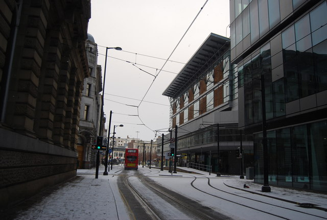 Tram lines along Mosley St