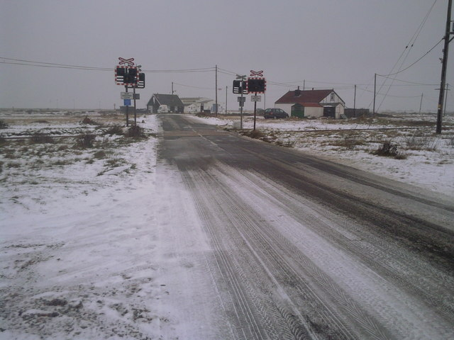 Icy level crossing near Dungeness