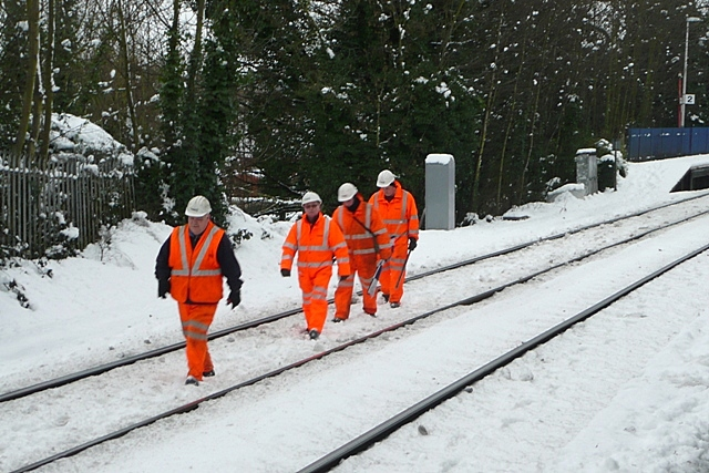 Track workers at Reading West station