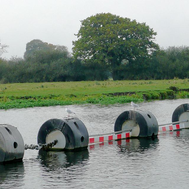 Boom across the River Trent near Alrewas, Staffordshire