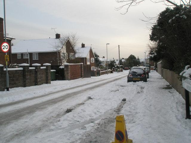 A snowy Carshalton Avenue