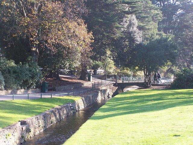 Stream and bridge, Lower Gardens