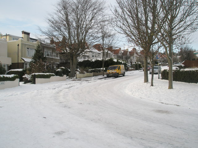 Junction of Penarth and Penrhyn Avenues after January snow