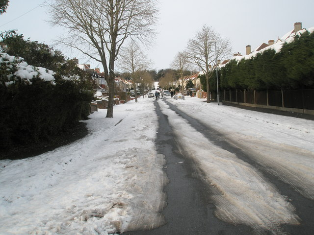 Looking northwards up a snowy Merthyr Avenue