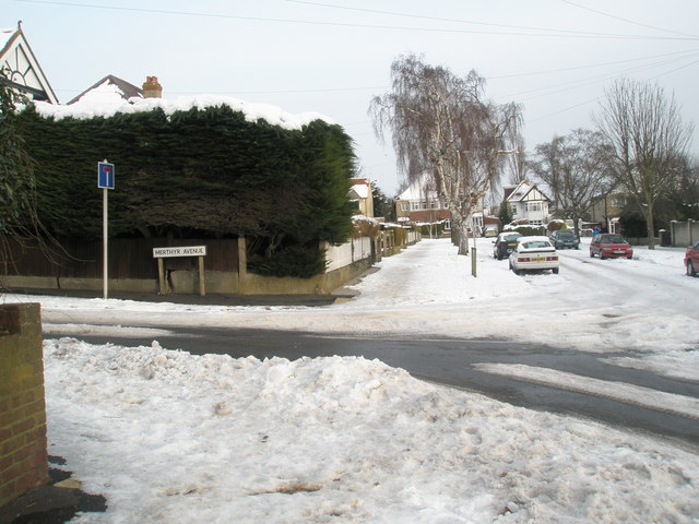 Junction of a snowy Penrhyn Avenue and Merthyr Avenue