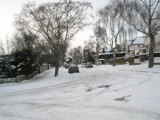 A snowy scene in Penrhyn Avenue