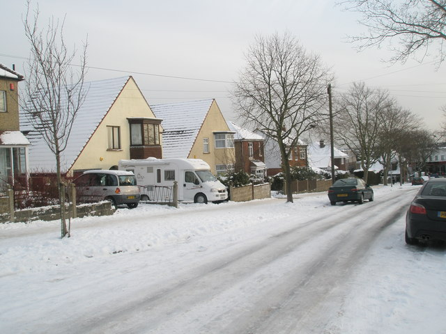 Snow covered homes in Penrhyn Avenue