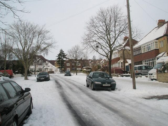 Looking northwards up a snowy Penrhyn Avenue