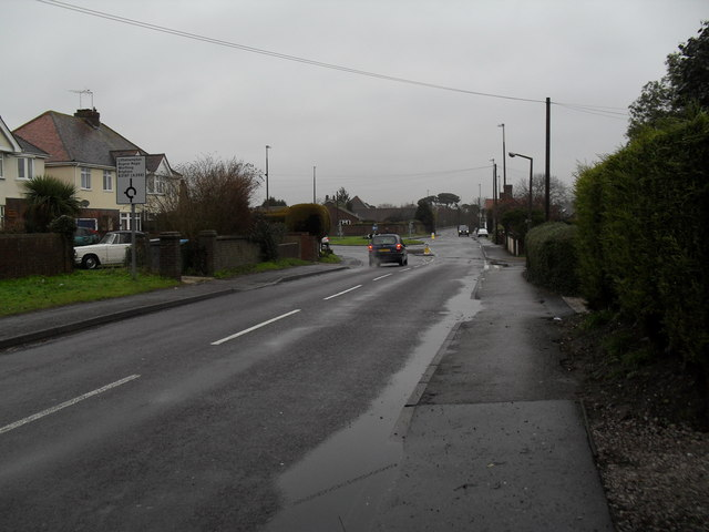 Looking along Mill Lane towards the Worthing Road roundabout