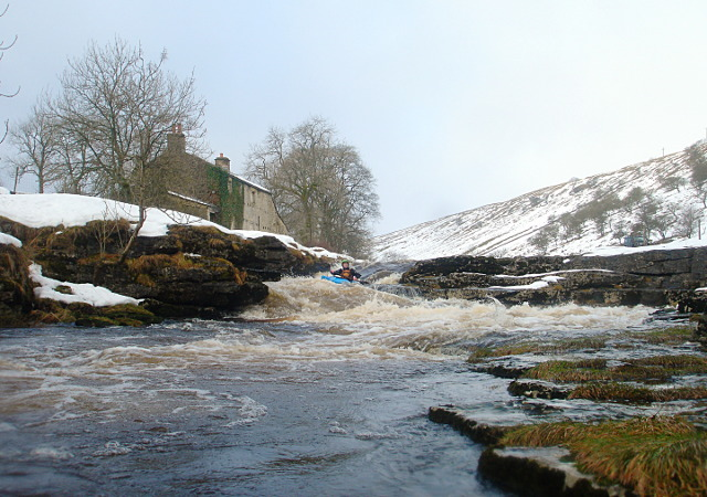 Awkward drop at New House on the Upper Wharfe