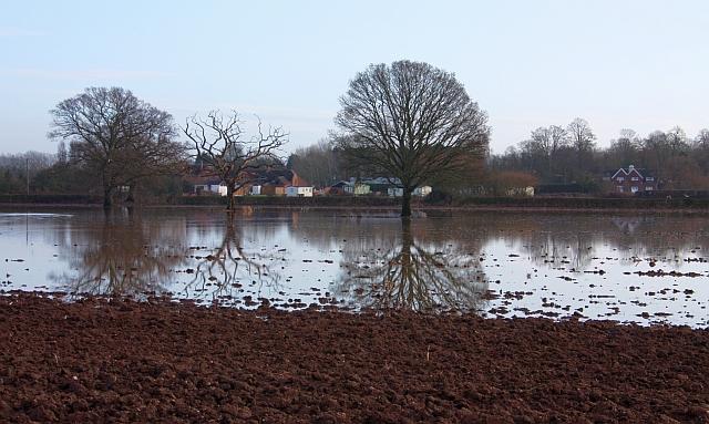 Flooded fields near Lower Lode