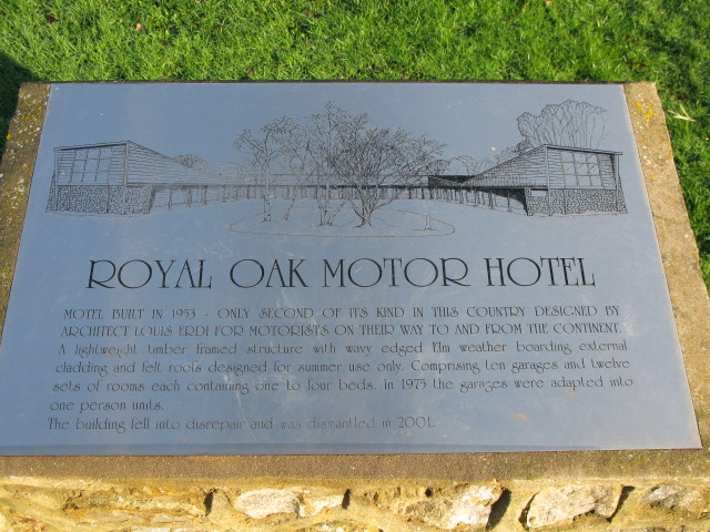 Plaque marking the spot of the Royal Oak Motor Hotel