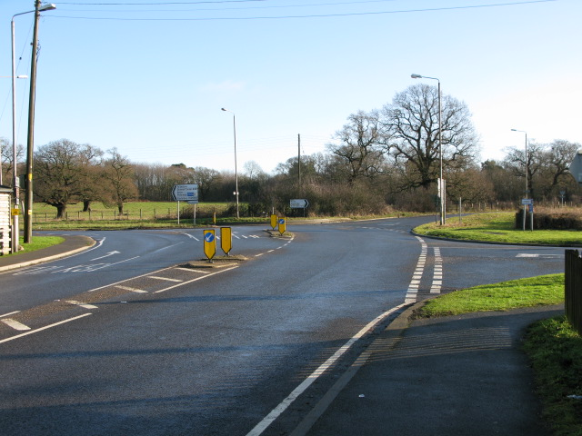 Junctions of the Stone Street and A261 Hythe Road with the A20