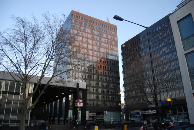 Office blocks in front of Euston Station