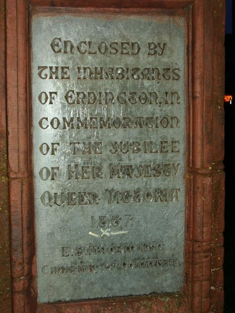 Plaque on Erdington village green