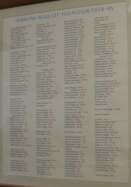 WW2 Roll of Honour in Town Hall in Jarrow