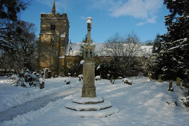 Birlingham church in snow