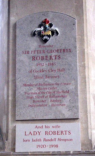All Saints church - memorial to Sir Peter Geoffrey Roberts