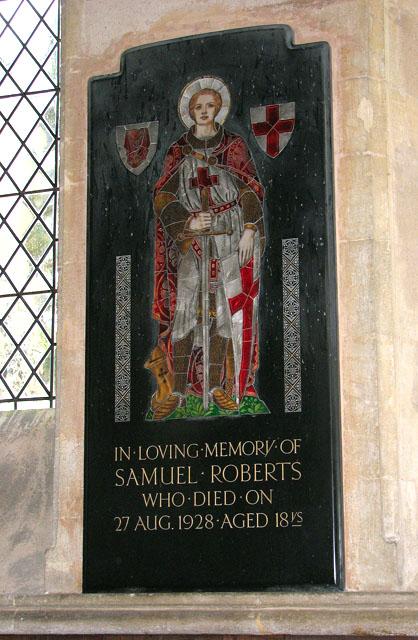 All Saints church - memorial to Samuel Roberts