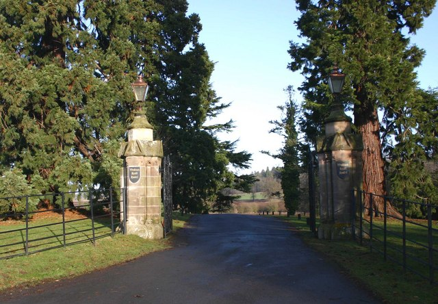 The entrance gates to Walton Hall Hotel